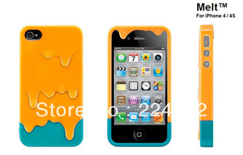 2013 Hot Sale Orange-Blue Color 3D Melt Carbonate Melt ice-Cream Skin Hard Phone Case Cover For iPhone 4 4G 4S FreeShipping