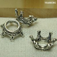Yearning Jewelry Retro Zinc Alloy Antique Silver Imperial Crown Charms Beads 100pcs/lot