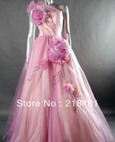 2013 Custom Design Popular Sexy Flowers Beads Crystal Open Back  Evening dresses VV-19