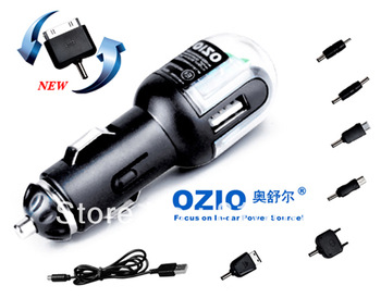 Brand new B13 Car Charger, 7 in 1 mobile phone connector,with  V8/M300/IPHONE New Plugs,and Colorful lights