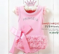 free shipping retail girl's rompers,baby's princess ballet summer rompers,kid's pink lace rompers,lss035