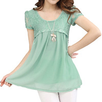 Plus size clothing summer mm 2013 short-sleeve medium-long lace chiffon shirt basic top shirt