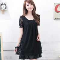 Pomelo plus size clothing summer mm loose plus size female short-sleeve lace one-piece dress