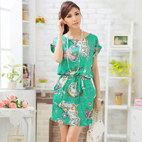 Free Shipping 2014 plus size clothing summer mm baroque print one-piece dress