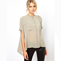 2014 New haoduoyi double pocket short sleeve m gray collar chiffon short in front long dovetail wide blouses