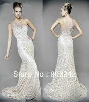 Perfect Ivory Lace One Shoulder Newest Bridal Evening Dress FREE Size LR-E