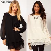 2014 New haoduoyi elegant long sleeve solid color chiffon velvet three dresses