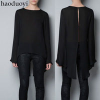 2014 New haoduoyi black beaded silk sleeve portion exposed irregular hem STUDIO cape back blouse