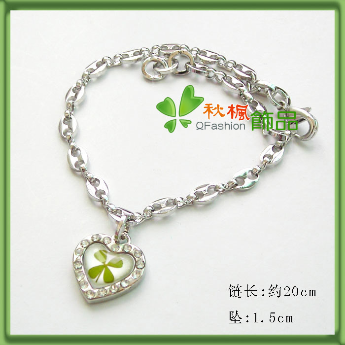 Natural four leaf clover bracelet luckyclover bracelet women's birthday gift fashion heart(China (Mainland))