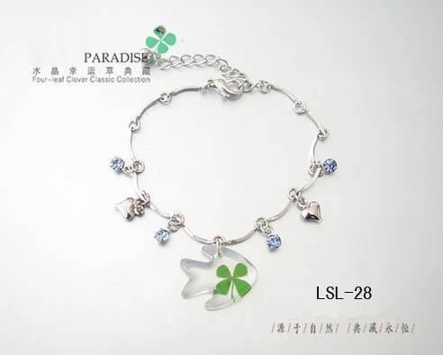 Lucky grass natural four leaf clover small fish bracelet new year gift girls bracelet gentlewomen(China (Mainland))
