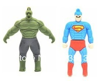 Wholesale 3D super man and Hulk USB memory stick 2GB 4GB 8GB free shipping