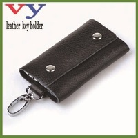 wholesage black leather hey holder in holde 5 keys 100% genuine leather + dropshipping leather key holder service for retailor