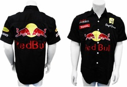 Black Blue cotton short sleeve shirt motor racing shirt,f1 racing shirt,nascar racing shirt freeshipping(China (Mainland))