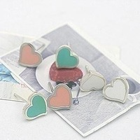 E64  glaze love heart stud earring hot-selling earrings  free shipping (Min order $10 mixed order)