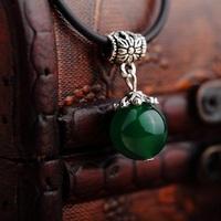 2pcs/lot Lucky beads natural GREEN agate single-bead pendant Male Fashion pendant wholesale price14MM