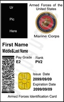Free EMS to USA custom personalized ur pic us marine corps  1 movie id cards + 1 card case & holder