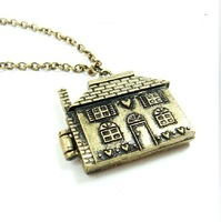 Free shipping 6pcs/;ot Unique Antiqued Bronze Open House Locket Necklace necklaces for women Pendant E charms female