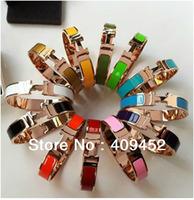 Free shipping Classic 316L Titanium Metal stainless 18K Bracelet  for Lady Enamel H Letter Shape Bangle