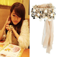 Accessories fashion Women multi-layer pearl crystal chiffon bracelet wide bracelet