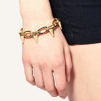 Fashion spike rivet c28 punk high quality gold plated bracelet