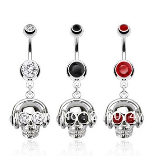Free Shipping! Wholesale Human Skeleton Belly Ring Navel Ring Body Piercing Jewelry.(China (Mainland))