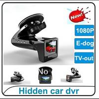 "HD 1080p Car Black Box 2.0"" screen with Radar Detector.E-dog.G-sensor & 140degree wide angle SH818 Free Shipping"