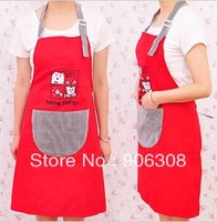 Free Shipping New Popular Fashion Red Canvas Kitchen Aprons Cartoon Cat Cooking Apron Kitchen Products Stripe Pocket