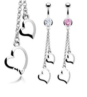 Free Shipping! Wholesale Double Heart  Dangle  Belly Button Ring Navel Ring Body Piercing Jewelry.