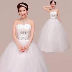 New Arrival Sweet Princess Lube Top Bandage Wedding Dress Diamond Spring And Summer Wedding Free Shipping Drop Shipping(China (Mainland))