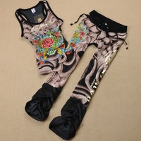 Personalized vest boot cut summer casual fashion velvet women's print set