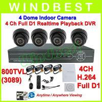 HD 800 TVL 4CH H.264 Full D1 DVR Kit Day Night Vision Indoor Dome Camera Surveillance Video System 4CH CCTV Camera DIY Kit