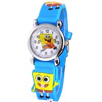 Free Shipping Lovely 3D Cartoon blue Spongebob squarepants Watch Children Kids Girls Boys Students Quartz Wristwatches.