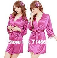 Hot Selling!Sexy Lingerie Cardigan Dress Bathrobe Pajamas Women Sexy Sleepwear+Belt + G-string Free Shipping Kimono Robe 80650