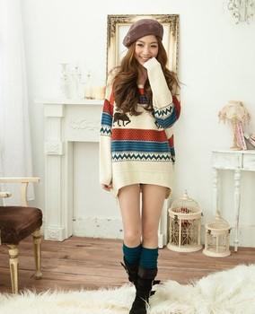 2014 Осенние моду женские олени свободно полый вязать длинный свитер пальто, свитер pollover бесплатная доставка