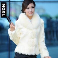 Luxury Newest Genuine Rabbit Fur Jacket with Fox Fur Collar Women Fashion Slim Overcoat Winter Warm Garment