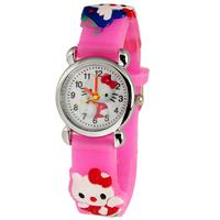 Free Shipping Lovely 3D Cartoon pink hello kitty Watch Children Kids Girls Boys Students Quartz Wristwatches.