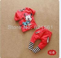 cartoon mickey mouse children clothing set  stripe 2 pcs suit girl's shirt shirts + Haren pants slacks dress whole suits outfits