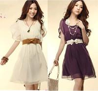 Free shipping 2013 summer women's vintage ruffle plus size chiffon one-piece dress with belt