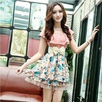 Summer women's 2013 slim elegant plus size lace chiffon one-piece dress short-sleeve skirt