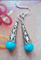(Min order $10) Silver jewelry earring national trend drop earring turquoise tibetan jewelry silver earrings yc067