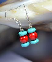 (Min order $10) National trend accessories handmade turquoise tibetan jewelry tibetan silver drop earring yc140