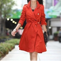 2013 spring and autumn slim women's spring women's medium-long trench outerwear plus size women's