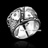 Constellation 925 thai silver ring 925 pure silver carousingly pisces ring lucky