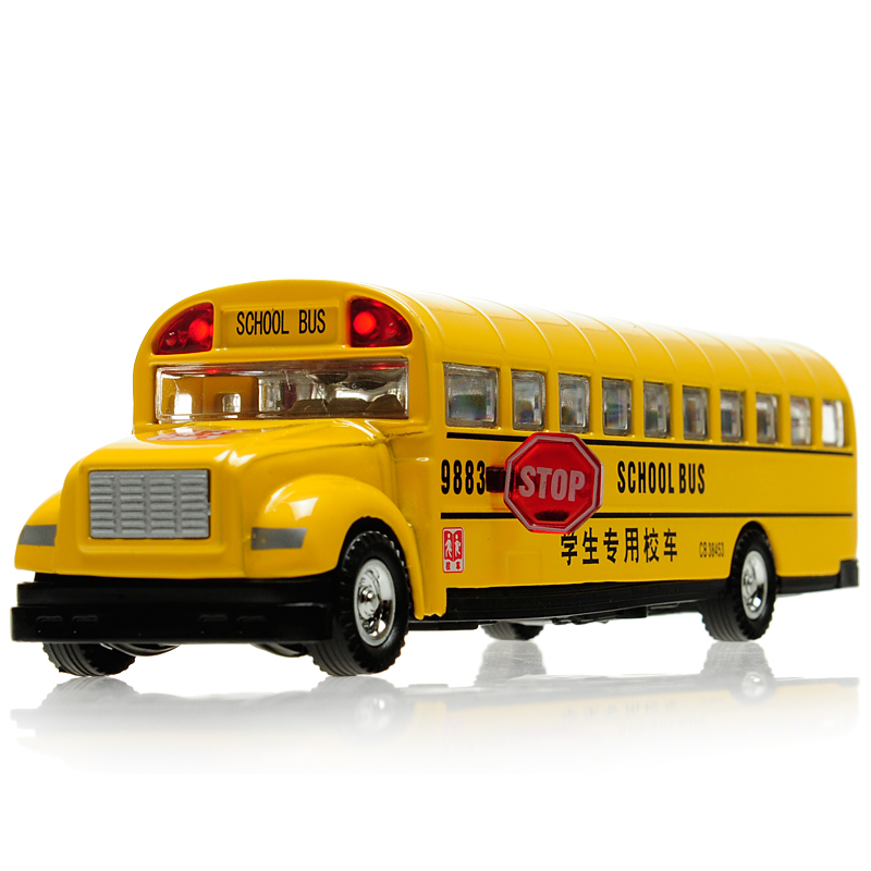 wholesale Classic school bus alloy car models plain WARRIOR inertia car model toy car