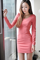 Free Shipping, 2013 Slim Round Neckline Long Sleeves Pencil-Shaped Women Mini Dress OL Office Work Pink Size S M L