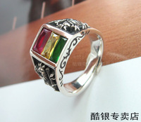 925 ring silver rasta vibration rv three-color crystal ring