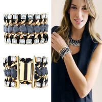 Fabric metal exaggerated bracelet fashion accessories female