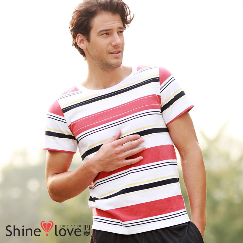 2013 Summer Fashion Men's Striped Short-sleeved T-shirt Can Waichuan(China (Mainland))