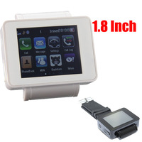 US Free shipping White GSM MP3/4 Bluetooth FM MSN Skype MMS Function NEW 1.8 inch Watch Mobile Phone Wrist watch phone