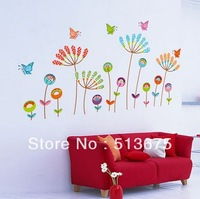 Free shipping New 2pcs/lot 50*70cm Furniture decorative stickers colorful butterfly flower cartoon children Room wall stickers